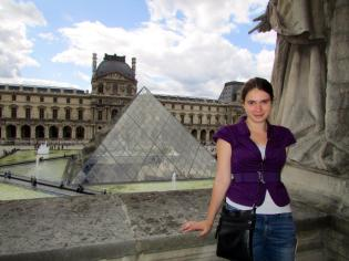 The famous glass pyramid, as seen from a balcony of the Louvre