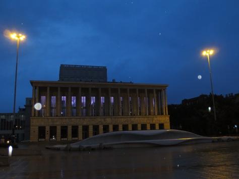 The Lodz opera house (and 'giant theatre') by night