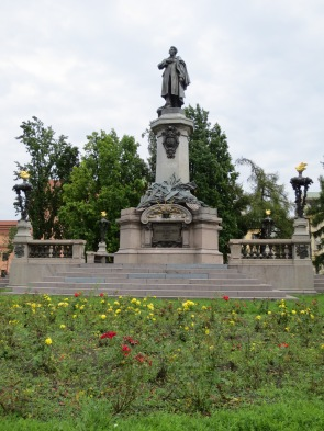 The Adam Mickiewicz monument. (He was a Romantic poet.)