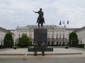 The presidential palace in Warsaw, with a monument to Prince Jozef Poniatowski in front