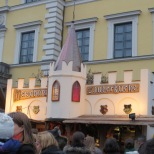 Medieval Christmas market at Odeonsplatz. Stalls sold weapons and cloaks, as well as the usual jewelry, food, and drink