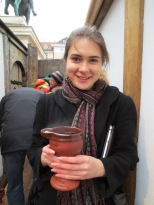 Feuerzangenbowle came in an impressive ceramic flagon at the medieval Christmas markets. (It was on fire when I got it, really!) But not a flagon with a dragon, so I didn't have to worry about the pellet with the poison