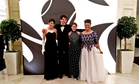 At the entrance to the New Year's Eve ball. Left to right: Megan, Lucas, Ilana, Jamesa.