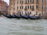 Classic Venetian gondolas, hiding from the flood.