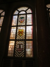 Stained glass window in the rotes Rathaus