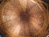 An intricately carved wooden ceiling in the Pergamon's Islamic Art collection
