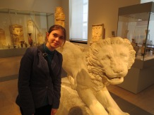 An ancient Etruscan funerary lion