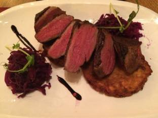 Duck with beets and a potato pancake at Pesti Diszno