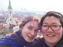 It turns out selfies are not the best way to show how good the view is, but you can see old town behind us. The Danube is out of view, but also very pretty from this elevation