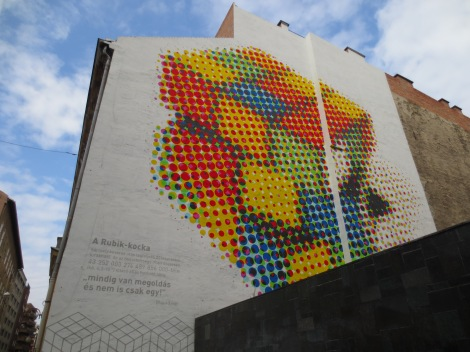 Rubik was Hungarian! This is a pseudo-3D mural in his honor