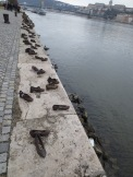 The shoes memorial---in 1944, fascist Arrow Cross militiamen ordered a group of Jews to the bank of the Danube, made them remove their shoes, and shot them. These bronze shoes sit along the bank as a memorial