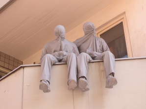 Cologne had a huge street art exhibition a while back. This creepy remnant lives on someone's balcony