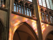 Patterns of light created by the stained glass