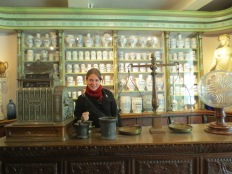 Inside a recreated pharmacy in the House of Alijn museum