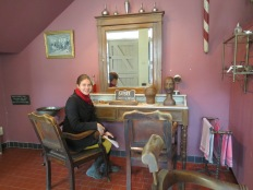 Inside a recreated barber's shop in the House of Alijn museum