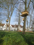 Art installation (ladderless tree houses) in the beguinage