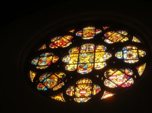 Stained glass with the crests of various families who have ruled The Netherlands. (You can see Bavaria's on the left)