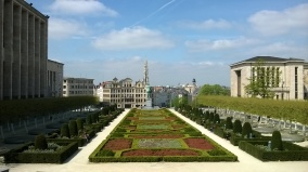 View of the Mont des Arts garden
