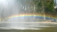 A rainbow in the fountain of Brussels Park