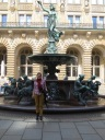 Me, in front of the Rathaus courtyard fountain