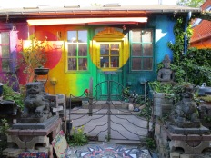 A house in Christiania. There are signs out front saying photos are specifically allowed here