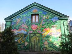 A mural at one of the entrances to Christiania