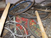 A graveyard for bicycle wheels?