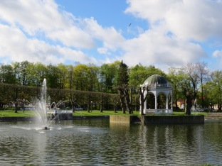 Lake with fountains and gazebo