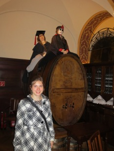 Mephisto and Faust ride a wine cask out of Auerbachs Keller