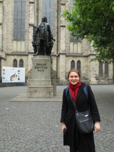 Bach, next to where he used to live. (The building no longer survives)