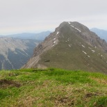 View of the Friederspitz from the Frieder. Technically, the guidebook's 6.3-hour hike included a jaunt across the ridge to this peak, but we skipped that
