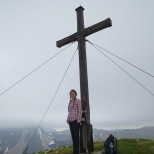 A cross marks the mountain's highest point. We made it!
