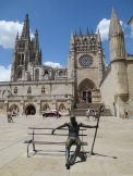 The statue of the pilgrim in front of the cathedral