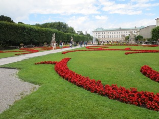 Brightly colored flowers in the Mirabell Gardens