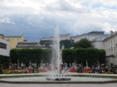 Hohensalzburg Fortress, seen through the fountain